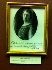 framed photo of Nellie Tayloe Ross at Ivinson Mansion, Laramie, WY